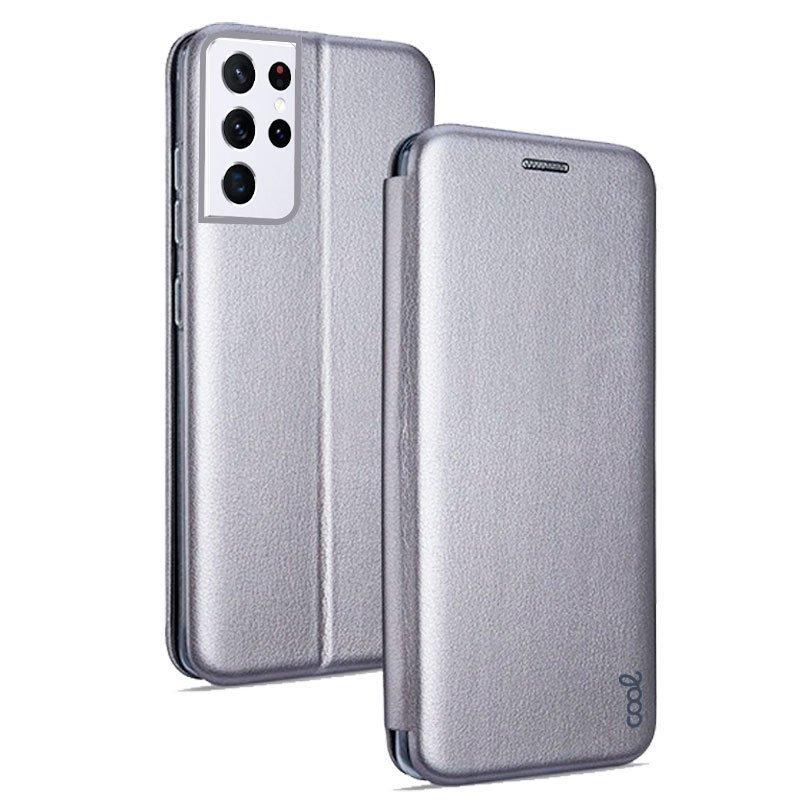 Cool Funda Flip Cover Elegance Plata Para Samsung Galaxy S21 Ultra