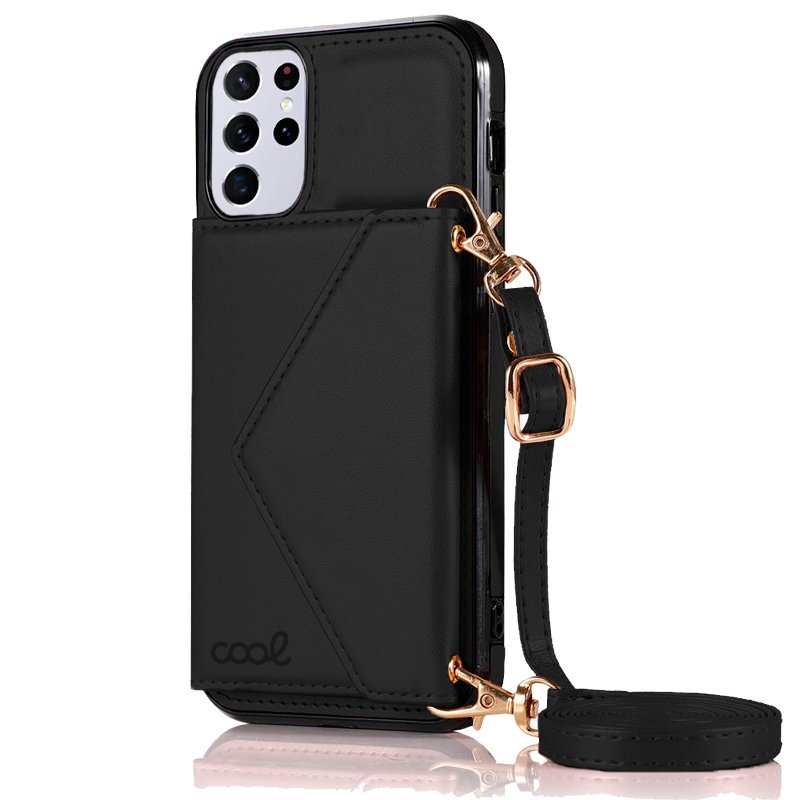 Cool Funda Colgante Wallet Negra Para Samsung Galaxy S21 Ultra