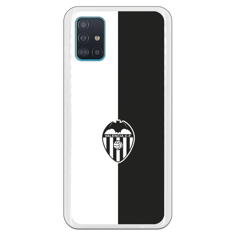 Funda Oficial Valencia CF del Valencia Bicolor Escudo Negro para Samsung Galaxy A51