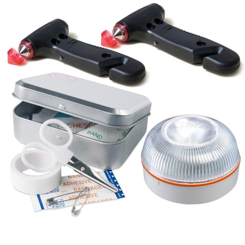 help flash pack dispositivo de senalizacion v16 homologado dgt  2 martillos de emergencia  kit de primeros auxilios