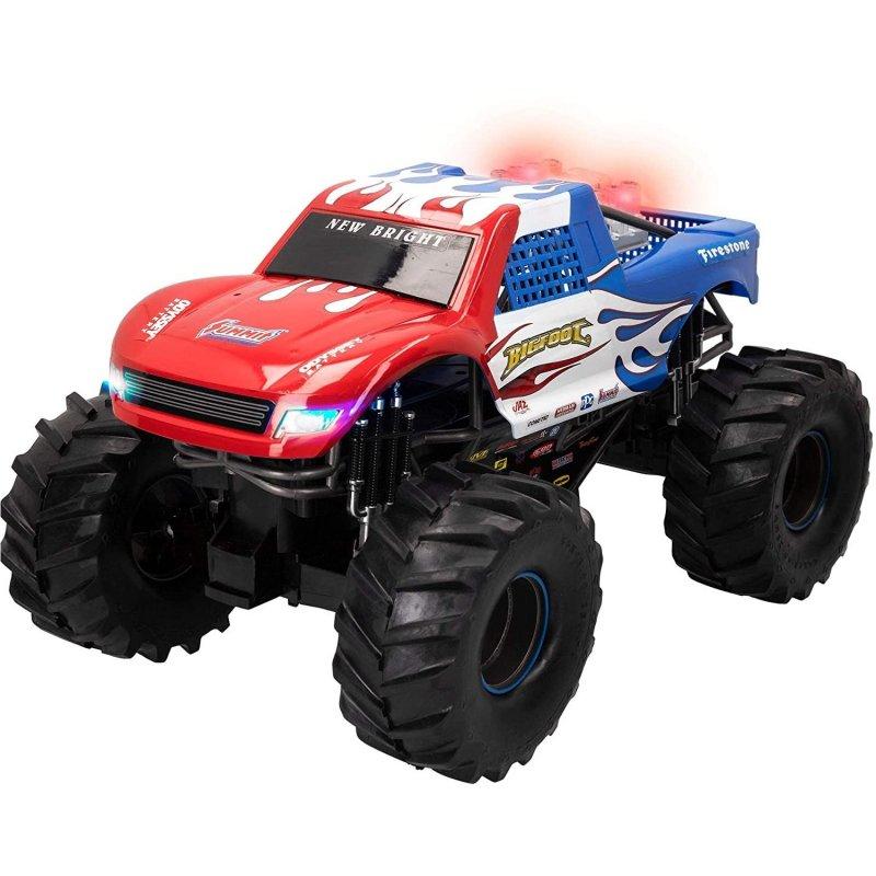 New Bright Monster Truck Coche Eléctrico 4x4 Azul/Rojo