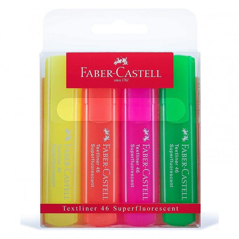 Faber Castell Textliner 46 Caja 4 Marcadores Fluorescentes Colores Surtidos