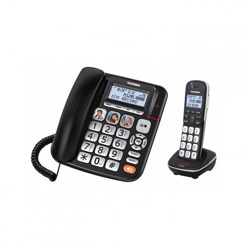 Telefunken TF 952 Cosi Combo Teléfono De Sobremesa + Inalámbrico Negros
