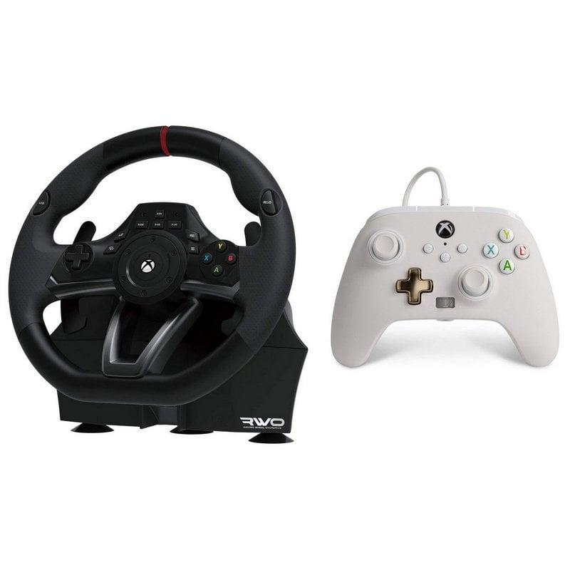 Hori Racing Wheel Overdrive Xbox One/PC + Power A Mando Con Cable Blanco Para Xbox Series X/S/Xbox One