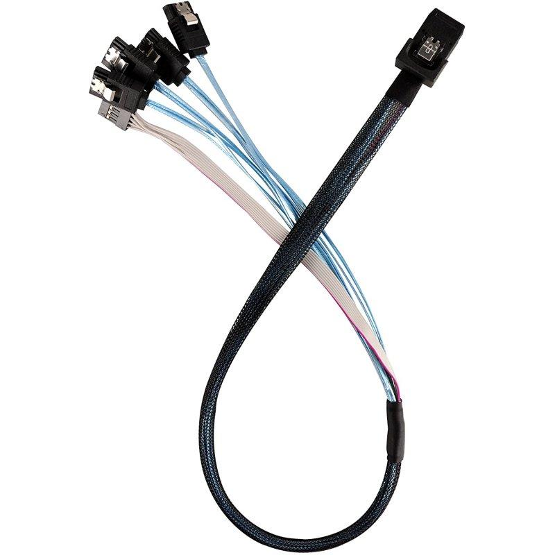 Silverstone Cable Interno 36 Pines a 4xSATA 7 Pines + Cable de Banda Lateral 50cm Blanco/Azul