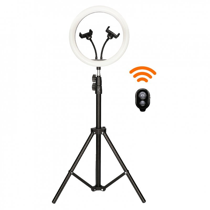"Mobile Tech Kit Studio Live Remote Aro de Luz 12"" con Trípode Suelo 1.6m para Smartphone + Mando"
