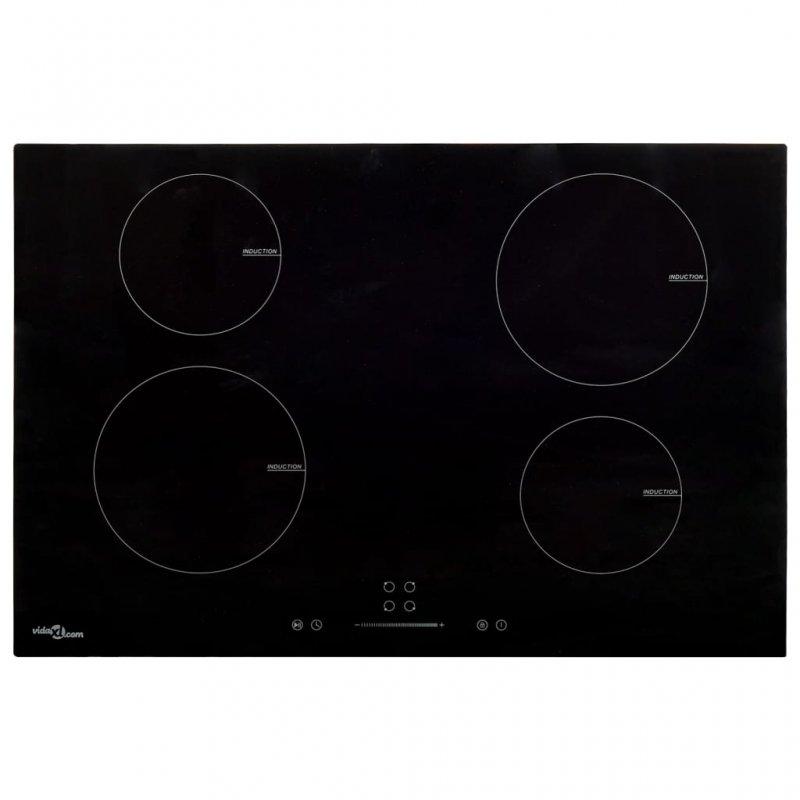 VidaXL Placa De Inducción 4 Zonas 77cm Negro