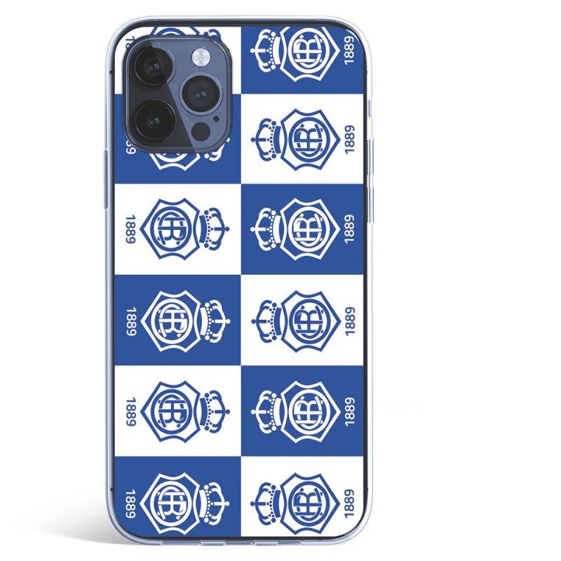Funda Licencia Oficial Real Club Recreativo de Huelva Patrón Escudos Cuadrados para iPhone 12