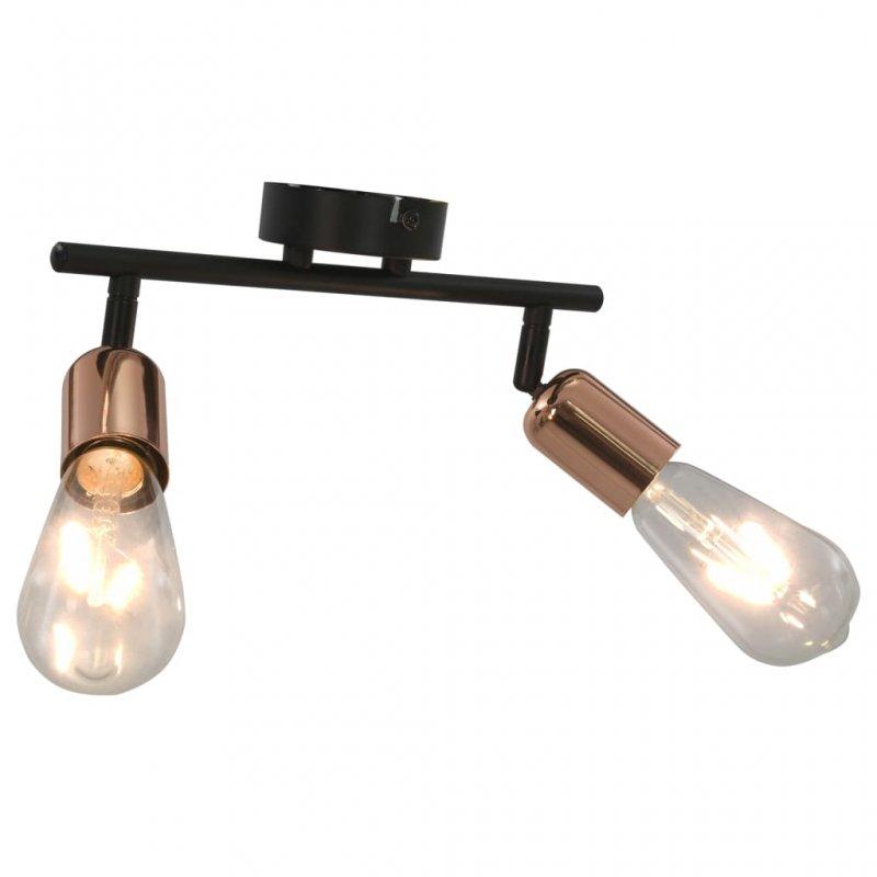 VidaXL Lámpara De Focos 2xE27 Negro/Cobre