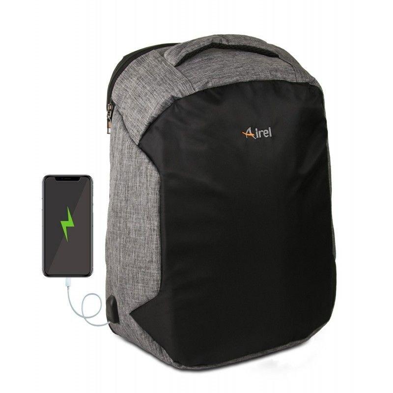 """Airel Mochila Gris/Negra con Conector USB para Portátil 15.6"""""""
