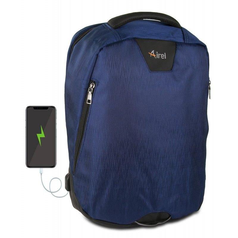"Airel Mochila Azul con Conector USB para Portátil 15.6"""