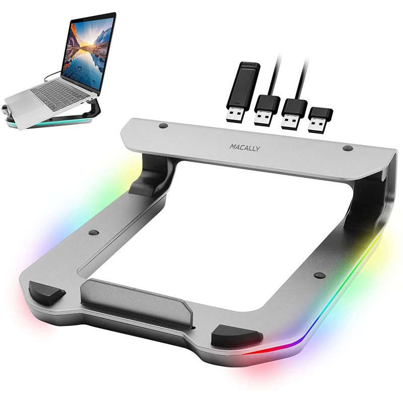 Macally Soporte Elevador RGB 4x USB 3.0 Para Portátil Aluminio