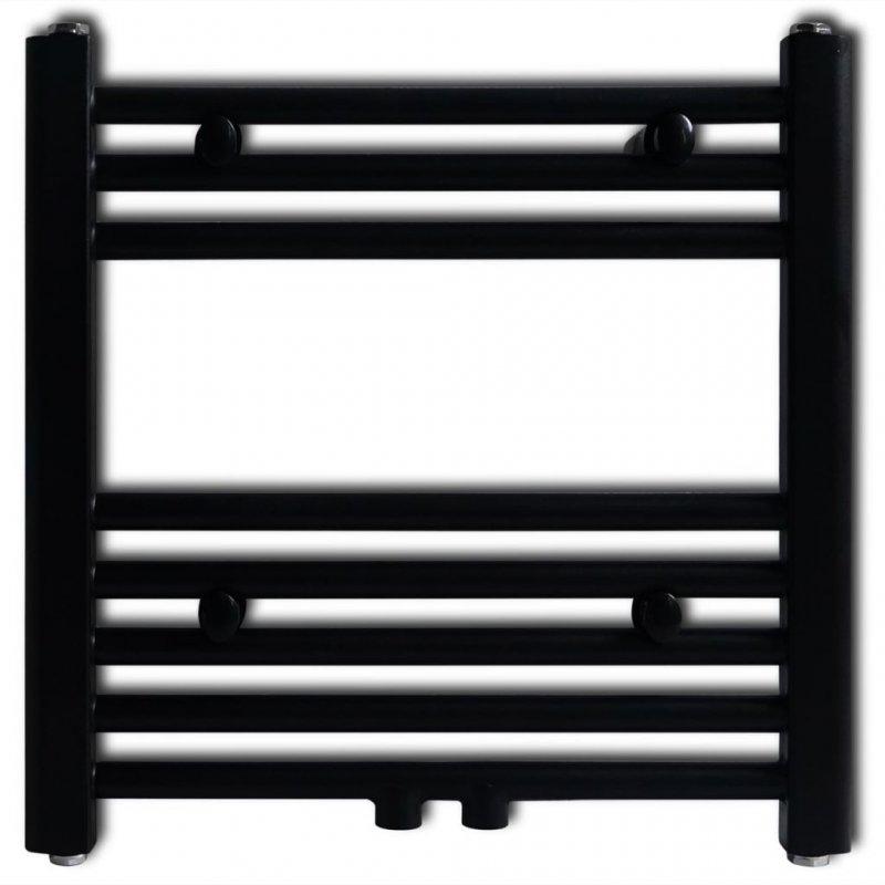 VidaXL Toallero Calefactor 480x480mm Conector Recto Negro