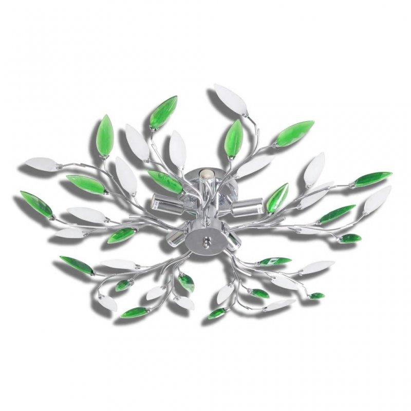 VidaXL Lámpara De Techo Hojas De Cristal 5xE14 Verde/Blanca