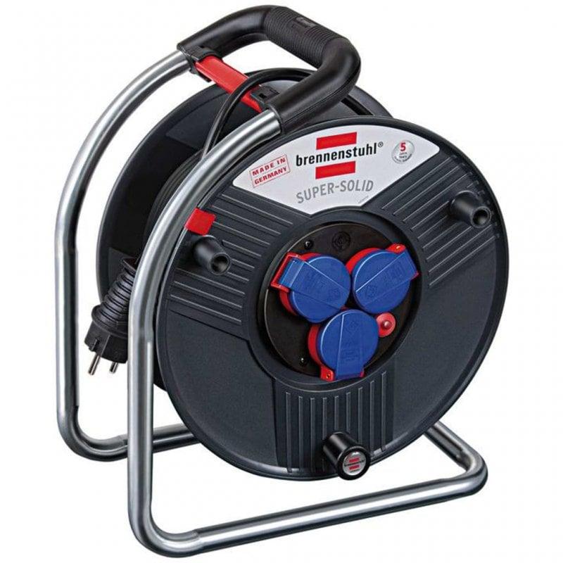 Brennenstuhl Super-Solid Enrollacables 3 Tomas 40m Negro/Azul