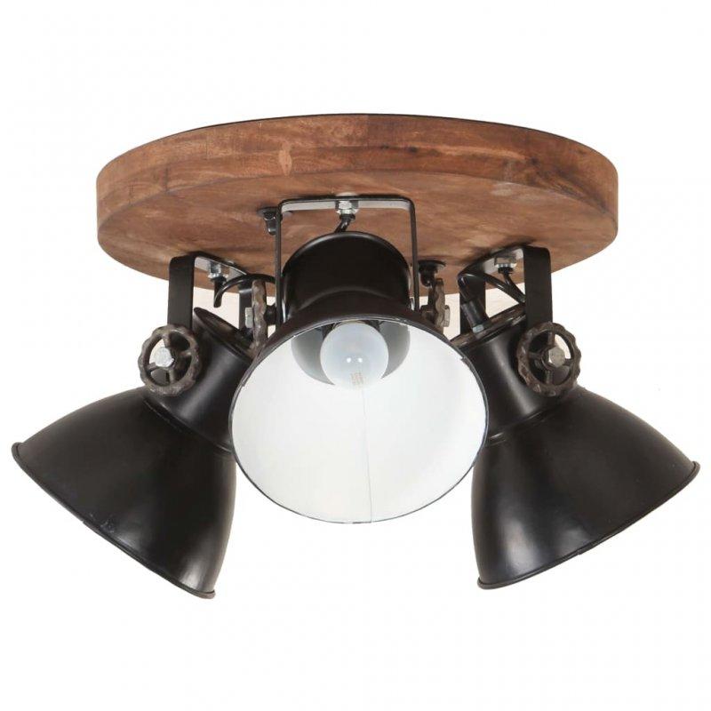 VidaXL Lámpara De Techo Industrial 3xE27 42x27cm Negro