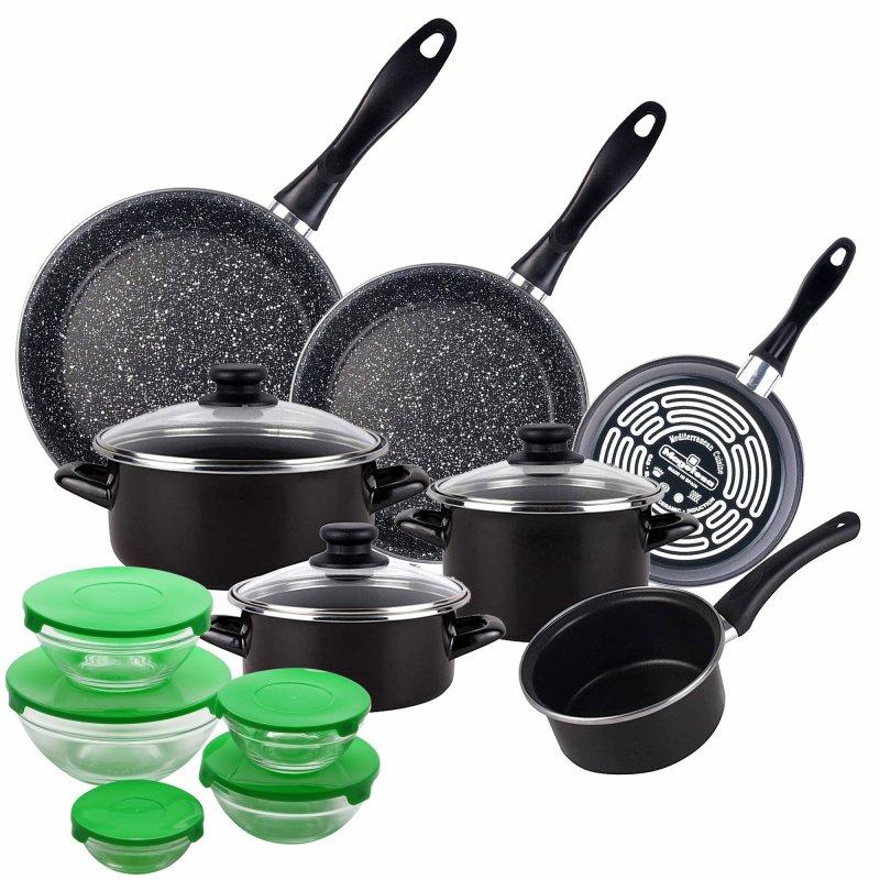 Magefesa Kenia Batería De Cocina 7 Piezas + Set De 3 Sartenes + Set De 5 Boles Verde