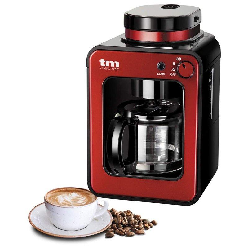 TM Electron Mini Cafetera De Goteo Con Molinillo 4 Tazas 600W Roja
