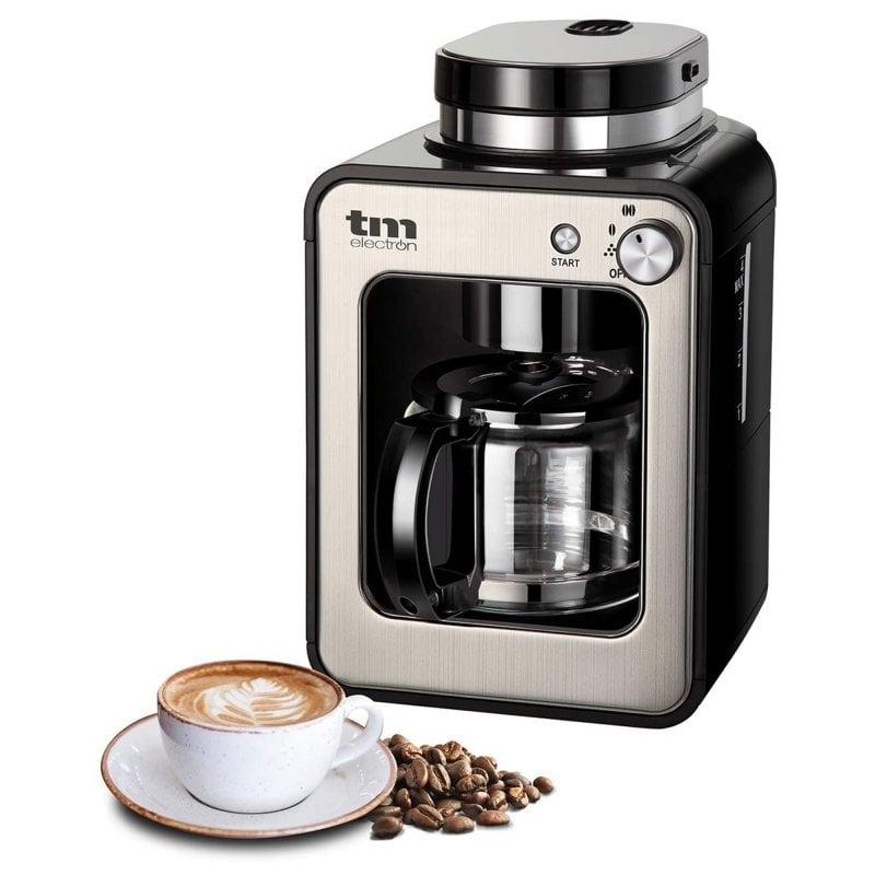 TM Electron Mini Cafetera De Goteo Con Molinillo 4 Tazas 600W Plata