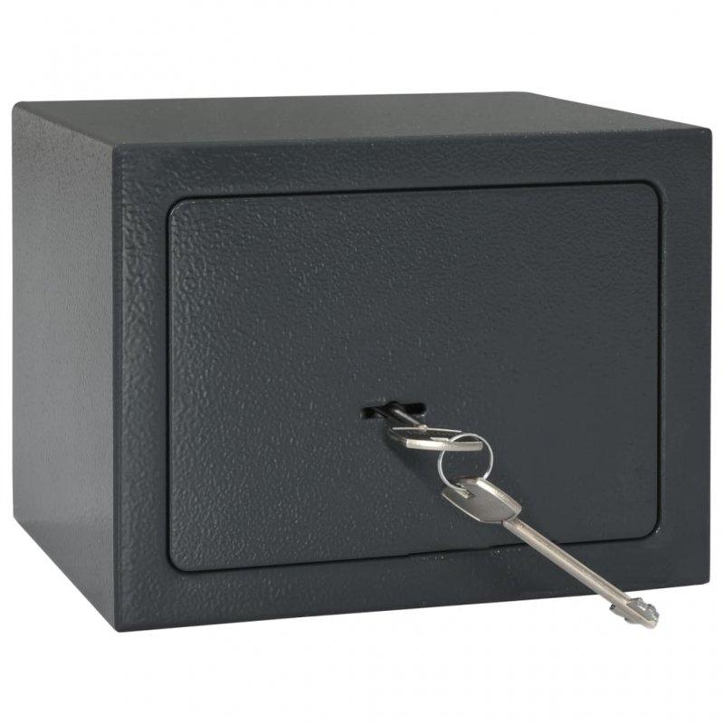 VidaXL Caja Fuerte Mecánica De Acero 23x17x17 Cm Gris Oscuro