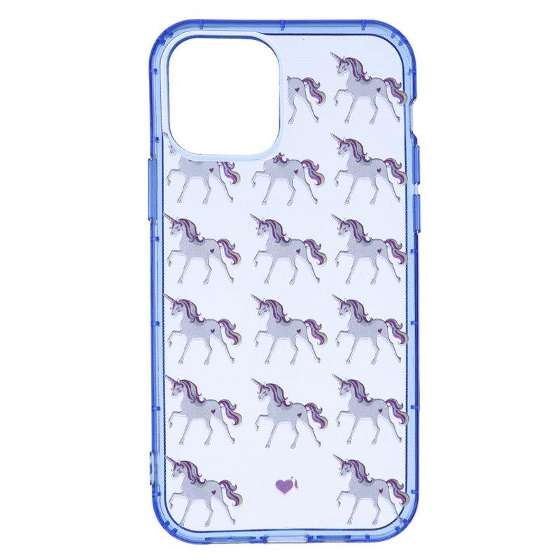 Funda Oficial De La Vecina Rubia Azul Neón Transparente Unicornios Para IPhone 11