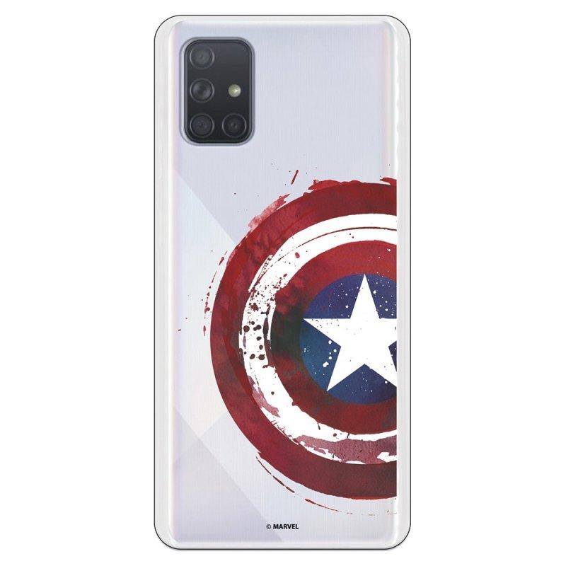 Funda Oficial de Marvel Capitán América Escudo Transparente para Samsung Galaxy A71
