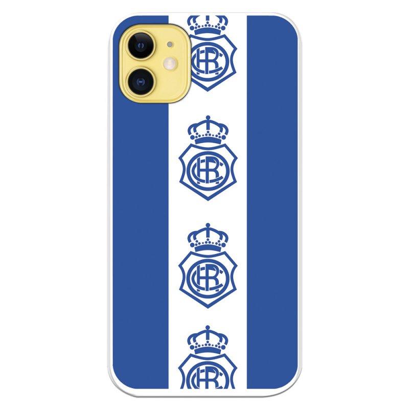 Funda Licencia Oficial Real Club Recreativo De Huelva Fondo Azul Escudos Patrón Verticales Para IPhone 11