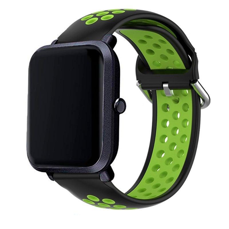 Cool Correa Universal Goma Negro-Verde 20mm Para Amazfit Bip/GTS/Bip Lite/Huawei/Samsung/Cool Oslo