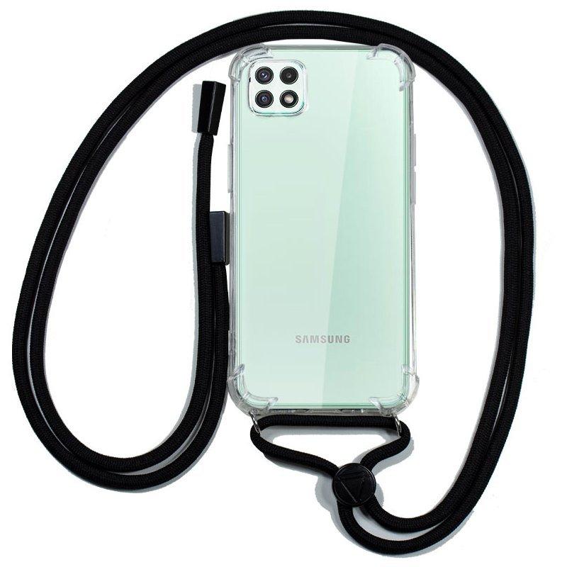 Cool Funda Transparente Con Cordón Negro Para Samsung Galaxy A22 5G
