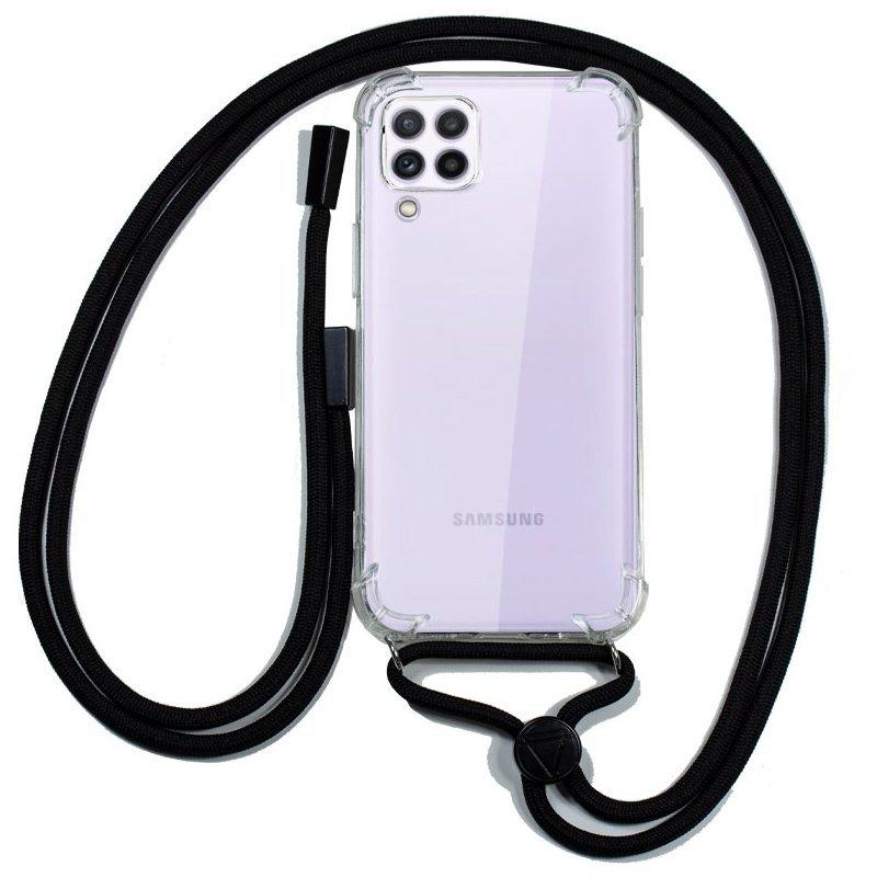 Cool Funda Transparente Con Cordón Negro Para Samsung Galaxy A22 4G