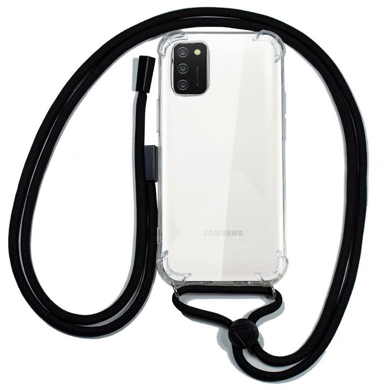 Cool Funda Transparente Con Cordón Negro Para Samsung Galaxy A02S
