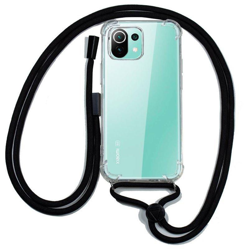 Cool Funda Transparente  Con Cordón Negro Para Xiaomi MI 11 Lite/ Mi 11 Lite 5G
