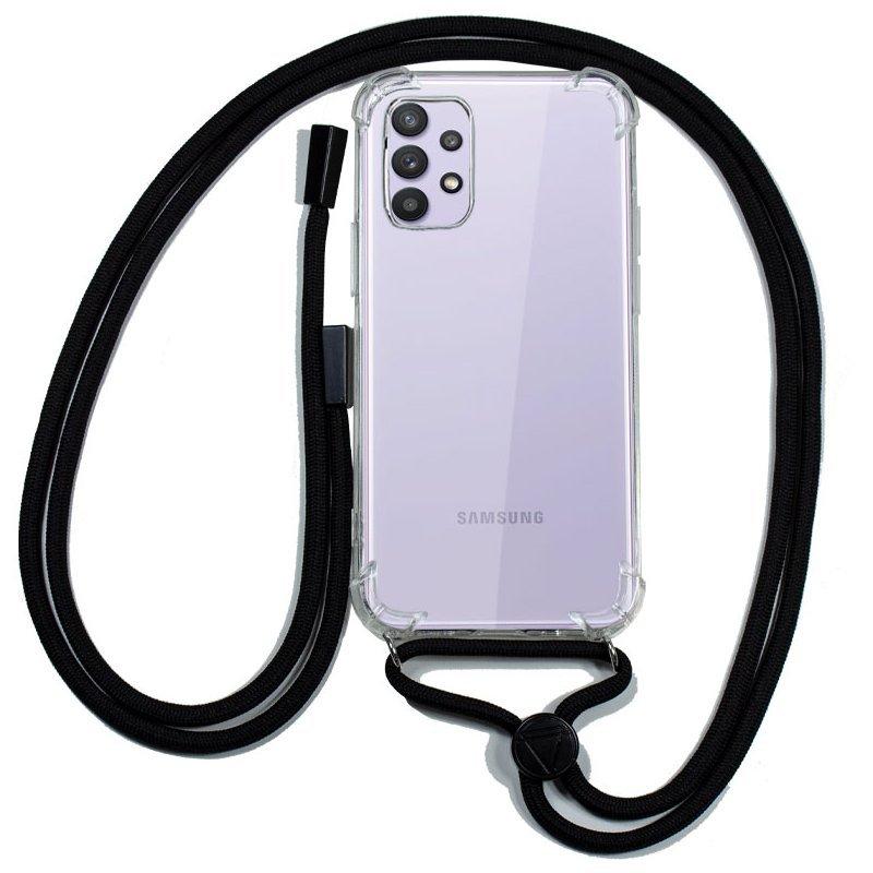 Cool Funda Transparente Con Cordón Negro Para Samsung Galaxy A32 4G