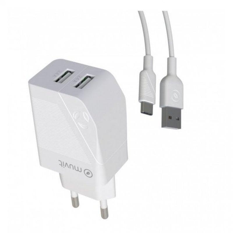 Muvit Cargador De Carga Rápida 2x USB + Cable 1.2m Blanco