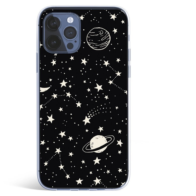 Funda Planetas Fondo Negro Para IPhone 12 Pro Max
