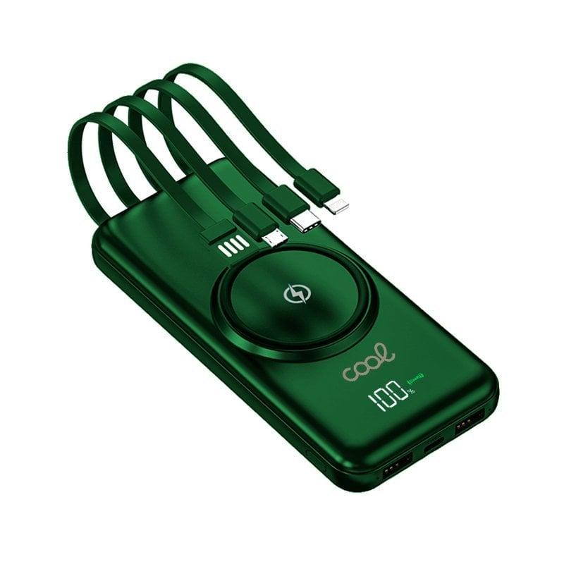 Cool Powerbank 10.000 MAh 4 Conexiones + Carga Inalámbrica Verde