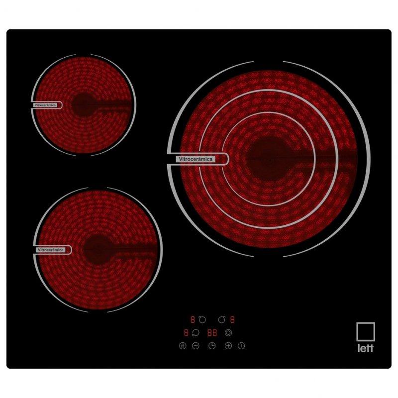 LETT VI330 Placa Vitrocerámica 3 Zonas 60cm Negra