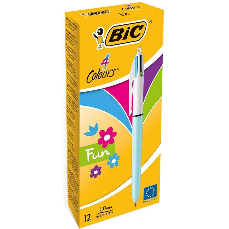 Bic Fun 4 Colores Caja 12 Bolígrafos Retráctiles Cuerpo Azul Pastel