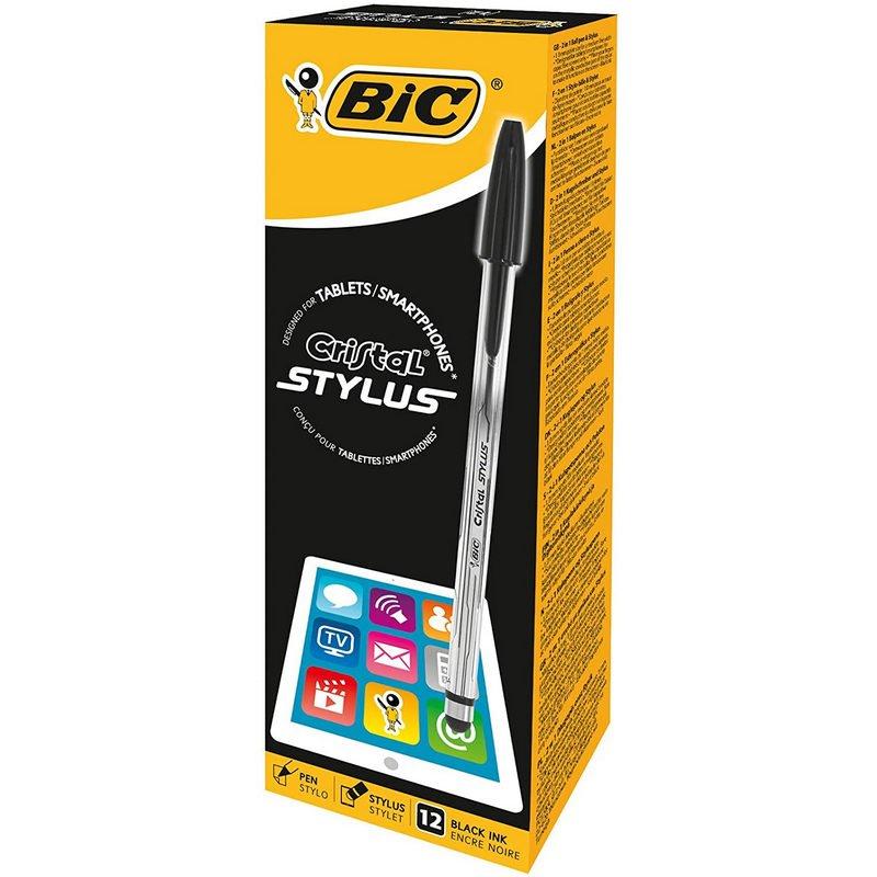Bic Cristal Stylus Caja De Bolígrafos Para Pantallas Táctiles 12 Unidades Negro