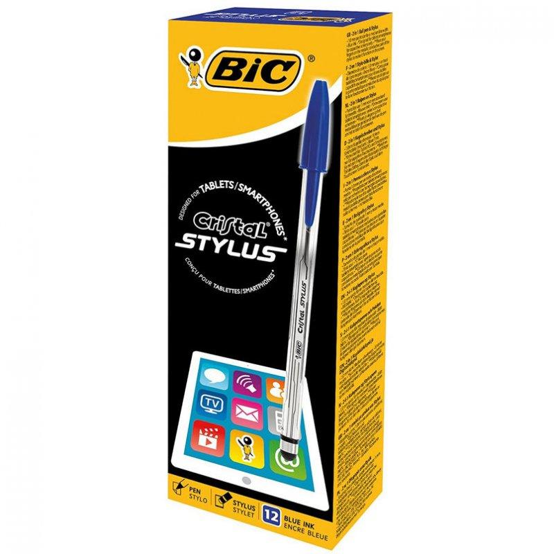 Bic Cristal Stylus Caja De Bolígrafos Para Pantallas Táctiles 12 Unidades Azul