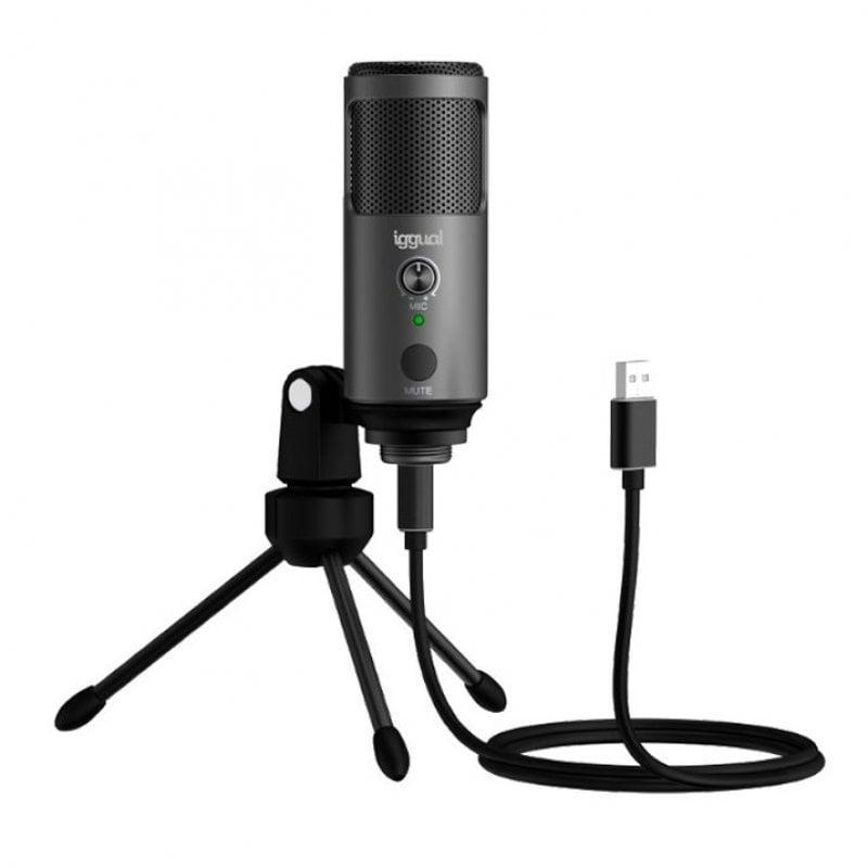 Iggual IGG317273 Micrófono Condensador Para Streaming Gris