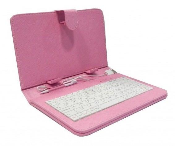 Funda polipiel tablet 7 con soporte teclado usb rosa pccomponentes - Fundas con teclado para tablet ...