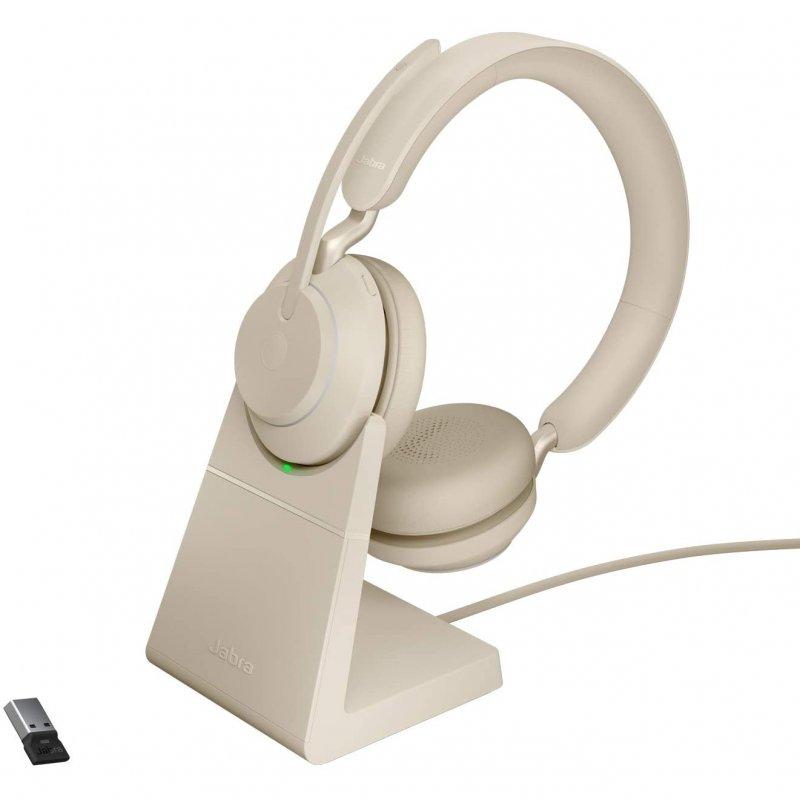 Jabra Evolve2 65 UC Stereo Auriculares Bluetooth Con Soporte De Carga USB-A Beige