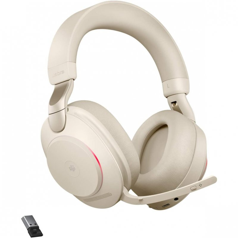 Jabra Evolve2 85 MS Teams Auriculares Bluetooth Con Soporte De Carga USB-A Beige