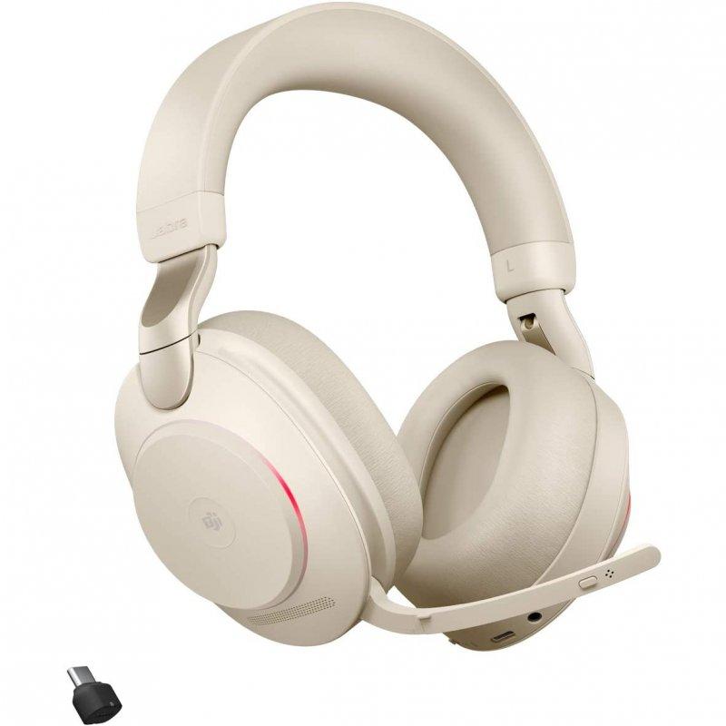 Jabra Evolve2 85 MS Teams Auriculares Bluetooth Con Soporte De Carga USB-C Beige