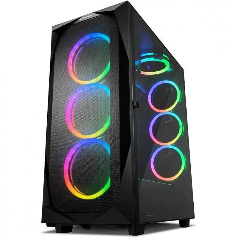 Sharkoon REV300 RGB Cristal Templado USB-C/3.2 Negra