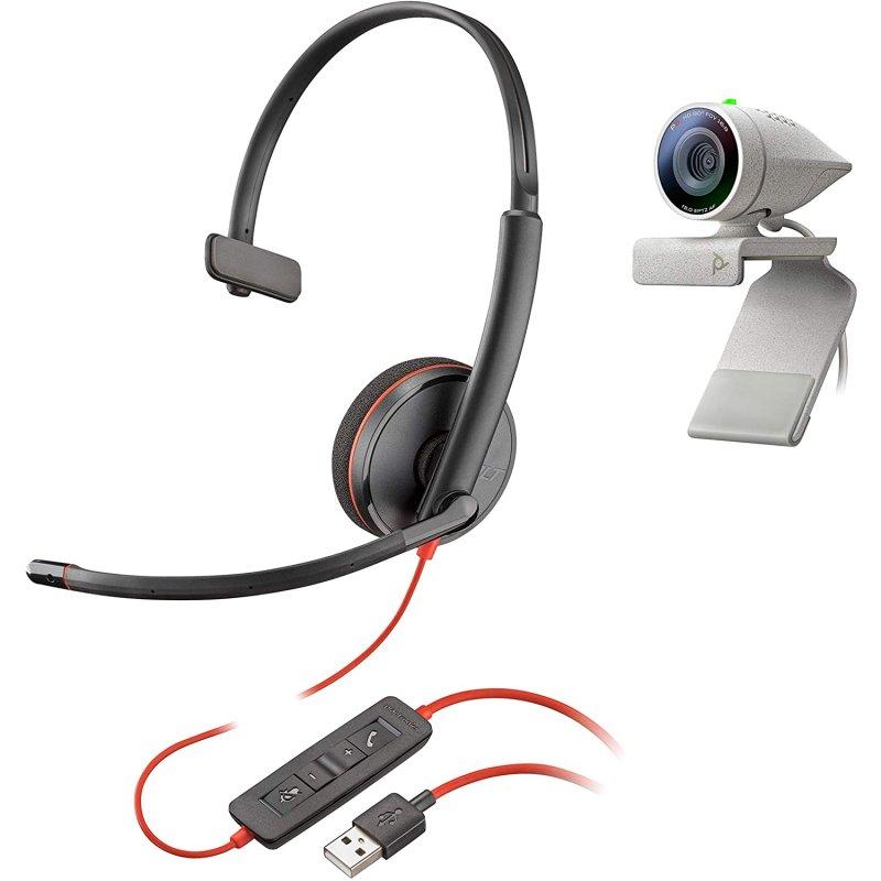 Plantronics Kit Poly Studio P5 Auricular Blackwire 3210 + Webcam Studio P5 1080P