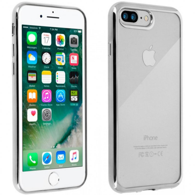 Akashi Funda De Silicona Transparente/Plata Para IPhone 7 Plus/8 Plus