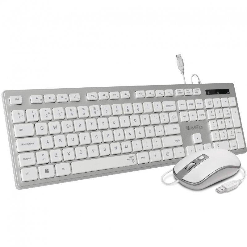 Subblim Ergo Combo Teclado + Ratón USB Plata/Blanco