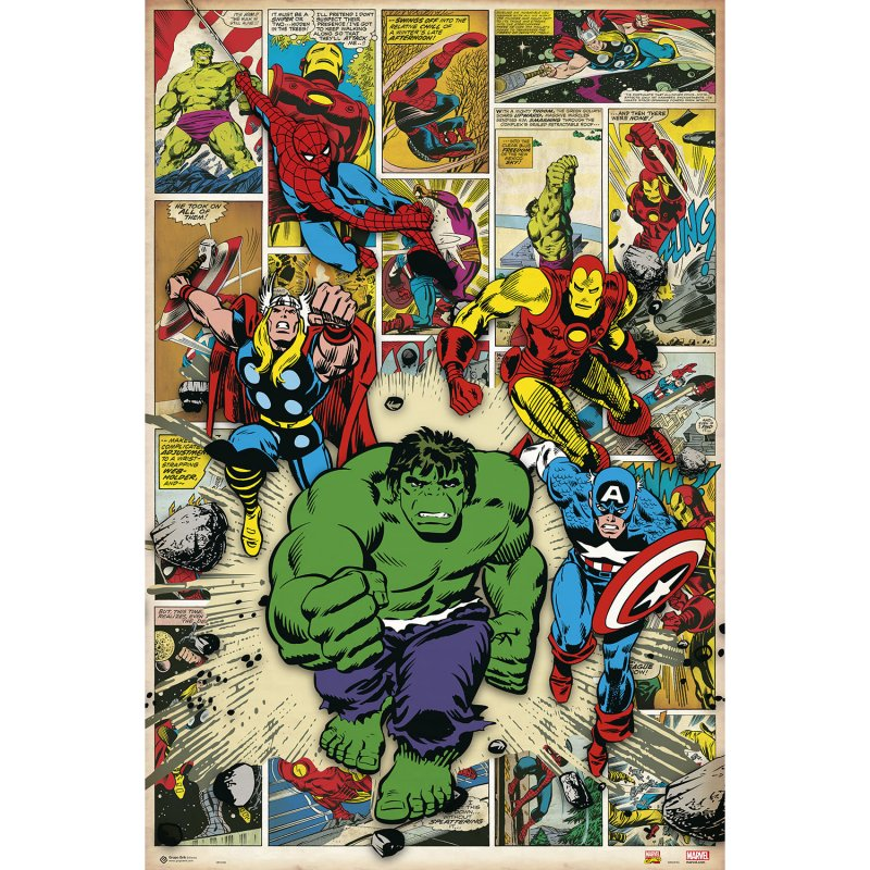 Erik Maxi Póster Marvel Comic Here Come The Heroes 91.5x61cm